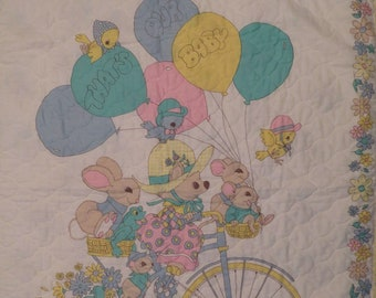 """Vintage """"That's our Baby"""" small quilted blanket"""