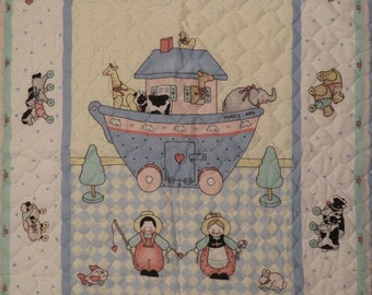 Vintage Noah's Ark small quilted blanket