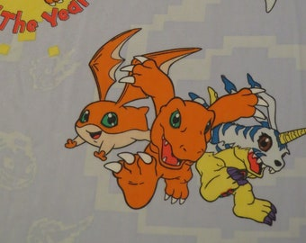 Vintage Digimon Twin sheet set -includes the flat, fitted, and pillowcase