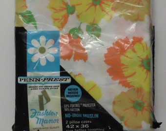 Set of 2 Vintage Fashion Manor Floral standard pillowcases -New in Package