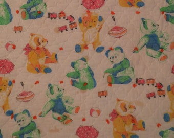 Vintage Colorful Teddy Bears small quilted blanket