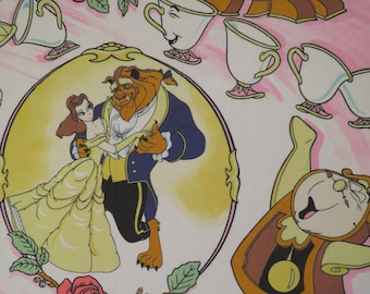 Vintage Beauty and the Beast Twin flat sheet