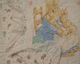 Vintage Beatrix Potter quilted blanket