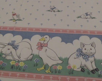 Vintage Farm Animals full sized sheet set -includes flat, fitted, and 2 pillowcases