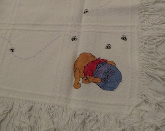 Vintage Winnie the Pooh small woven blanket