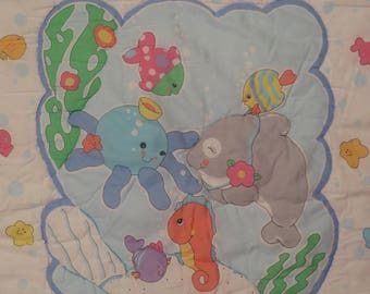 Vintage Cute Sea Creatures crib comforter