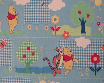 Vintage Winnie the Pooh flannel twin flat sheet