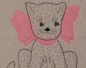Vintage Cute Kitten small quilted blanket