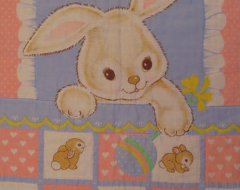 Vintage Sleepy Bunny small hand stitched blanket