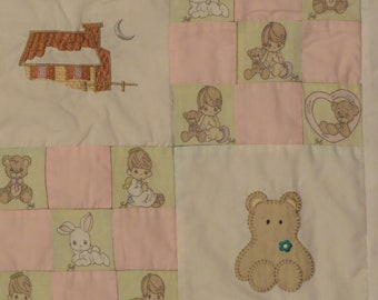Vintage Precious Moments small quilted blanket