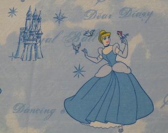 Vintage Cinderella twin flat sheet