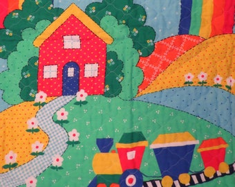 Vintage Colorful landscape small quilted blanket