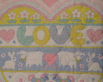 "Vintage ""Love"" small quilted blanket"