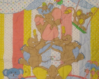 Vintage Adorable Circus themed small quilted blanket