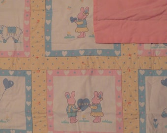 Vintage Cute Bunnies small quilted blanket