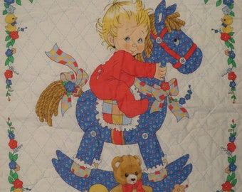 Vintage Cute Rocking Horse small quilted blanket