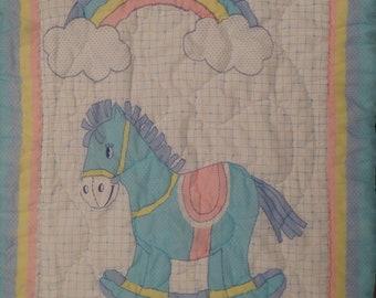 Vintage Rocking Horse crib comforter