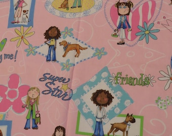 """Cute """"Me and My BIG Ideas"""" fabric from 2003 -a little over a yard"""