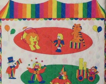 Vintage Colorful Circus small quilted blanket