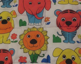 Vintage Silly Animals small quilted zip-up blanket