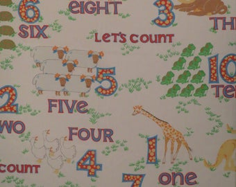 "Vintage ""Let's Count"" Animals and 123s Twin sheet set -includes flat, fitted, and pillowcase"