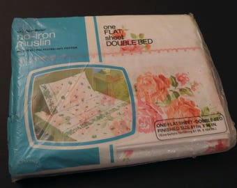 Vintage JCPenney Floral double flat sheet -New in Package