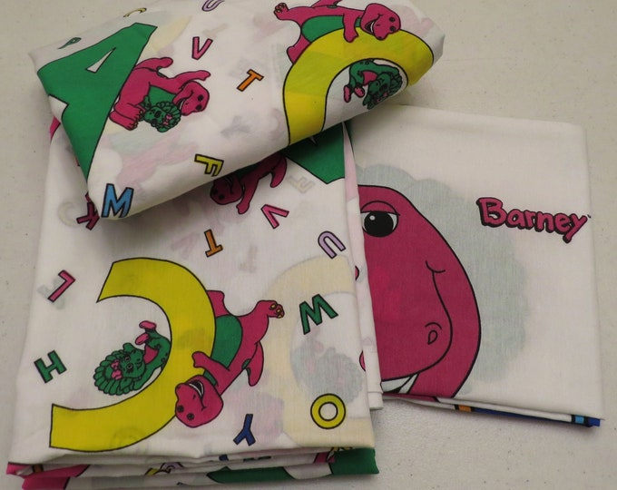 Featured listing image: Vintage Barney the Dinosaur Twin sheet set- includes flat, fitted, and pillowcase