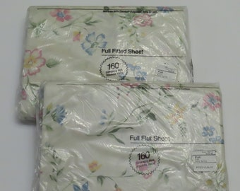 """Vintage JC Penney floral """"Early Spring"""" full flat and fitted sheets -New in package"""