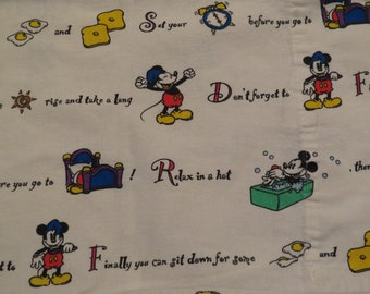 Vintage Mickey Mouse flannel pillowcase