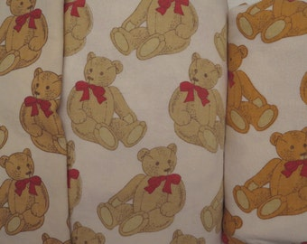 Vintage Flannel Teddy Bear King sized sheet set -includes flat, fitted, and pillowcase