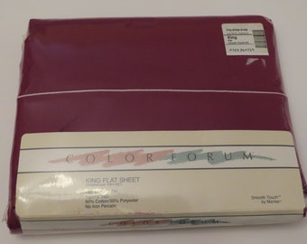 Vintage Color Forum by Martex King flat sheet -New in package