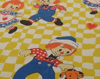 Vintage Raggedy Ann Twin flat sheet