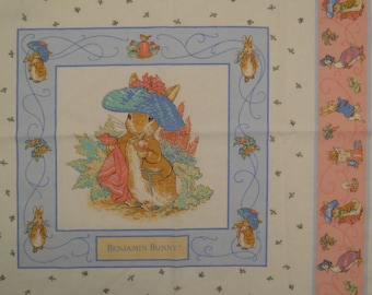 Vintage Beatrix Potter small panel of fabric featuring Benjamin Bunny