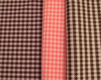Vintage Houndstooth fabric in Pink, Purple, or Brown