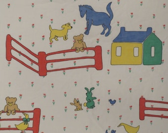 Vintage Teddy Bear and farm animal friends twin flat sheet