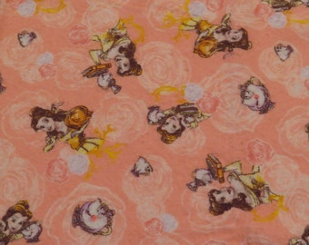Beauty and the Beast flannel fabric- about 1.6 yards