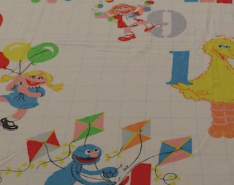 Vintage Sesame Street Twin flat sheet and pillowcase