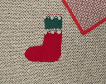 Vintage Christmas themed small quilted blanket