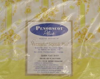 Vintage Wamsutta Floral Queen flat sheet -New in package