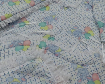 Vintage Cute Blue Bunny 6 piece crib set -includes comforter, dust ruffle, diaper stacker, pillow sham, bumper and headboard pads