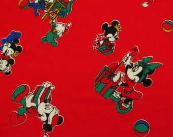 Vintage Mickey Mouse Christmas fabric- 2.3 yards