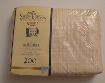 Vintage Peach Plaid by Springs King fitted sheet -New in Package