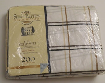 Vintage Plaid by Springs full fitted sheet -new in package