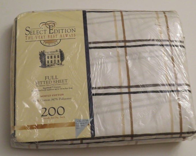 Featured listing image: Vintage Plaid by Springs full fitted sheet -new in package