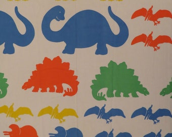 "Vintage ""The Learning Line"" Dinosaur twin flat sheet"
