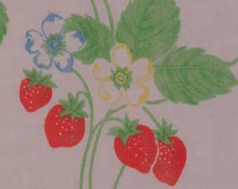 Vintage Strawberries twin flat sheet