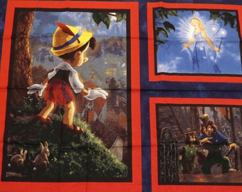Pinocchio Wishes Upon a Star fabric panel