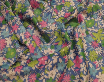 Vintage Silky Floral Fabric -Almost 3 yards