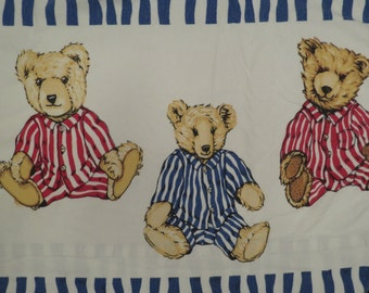 Vintage Flannel Teddy Bear Queen sized flat sheet