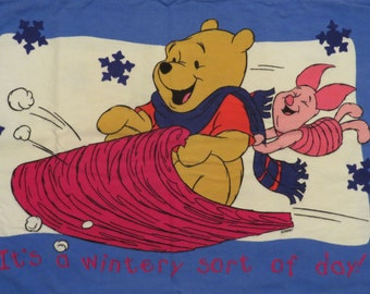 Set of 2 Vintage Winnie the Pooh flannel pillowcases